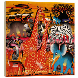 Wood print  Africa at sunset - Mrope