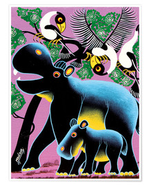 Premium poster Black Hippo Mother and Child