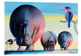 Acrylic glass  Hippo mother with cubs - Mkura
