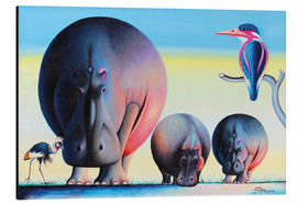 Aluminium print  Hippo mother with cubs - Mkura