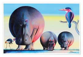 Poster  Hippo mother with cubs - Mkura