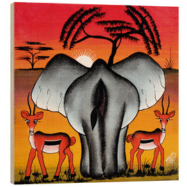 Wood print  Elephant from behind - Mrope