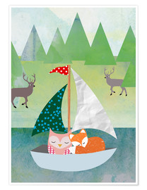 Premium poster Cute Owl and Fox Boat