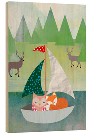 Wood print  Cute Owl and Fox Boat - GreenNest