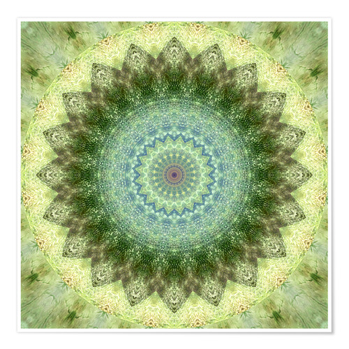 Premium poster Mandala yellow green