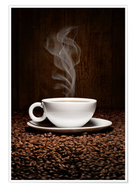 Premium poster  Coffee cup bean aroma - pixelliebe