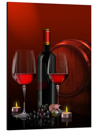 Aluminium print  Two wine glasses with red wine bottle and grapes - Kalle60