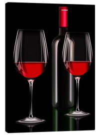 Canvas print  Red wine, red wine bottle with two glasses of red wine - Kalle60