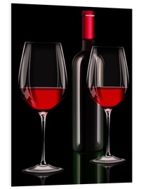 Foam board print  Red wine, red wine bottle with two glasses of red wine - Kalle60