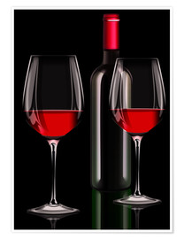 Premium poster Red wine, red wine bottle with two glasses of red wine