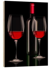 Wood print  Red wine, red wine bottle with two glasses of red wine - Kalle60