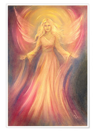 Poster  Spiritual painting of angel Light Love - Marita Zacharias