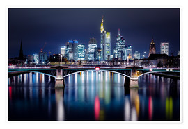 Premium poster Frankfurt Skyline night