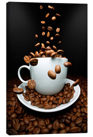 Canvas  Falling coffee beans cup - pixelliebe