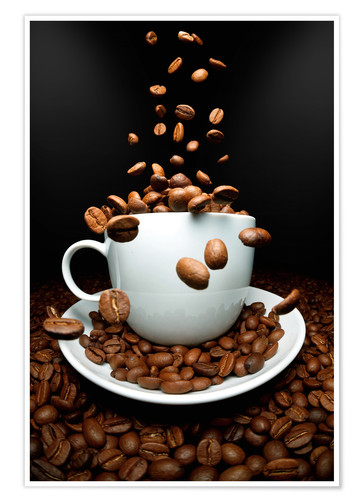 Poster Falling coffee beans cup