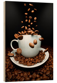Wood print  Falling coffee beans cup - pixelliebe