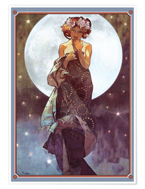 Premium poster  The Moon, adaptation - Alfons Mucha
