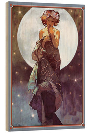 Wood print  The Moon, adaptation - Alfons Mucha