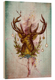 Wood print  Oh Deer, is that the time? - Sybille Sterk