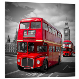 Foam board print  LONDON Red Buses - Melanie Viola