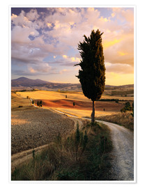 Poster Sunset over Val d'Orcia, Tuscany