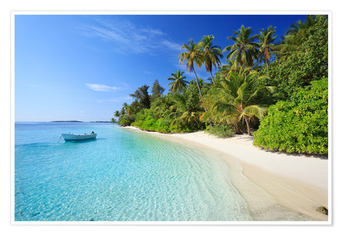Tropical Beach With Palms, Maldives Posters And Prints