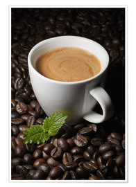 Premium poster Cappuccino coffee cup beans
