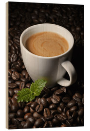 Wood print  Cappuccino coffee cup beans - pixelliebe