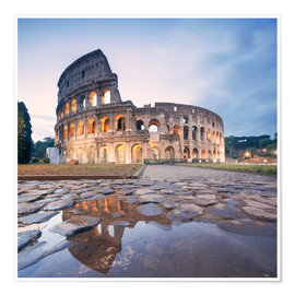Premium poster Colosseum reflected into water