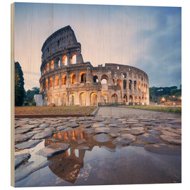 Wood print  Colosseum reflected into water - Matteo Colombo