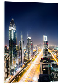 Acrylic print  Dubai city skyline at night, United Arab Emirates - Matteo Colombo