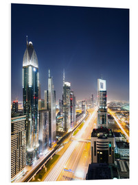 Foam board print  Dubai city skyline at night, United Arab Emirates - Matteo Colombo