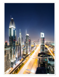 Poster  Dubai city skyline at night, United Arab Emirates - Matteo Colombo