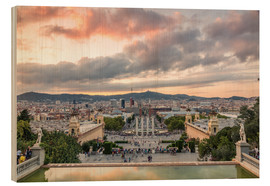 Wood print  Barcelona in the evening - Matteo Colombo