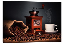 Canvas print  Coffee grinder with beans and coffee cup - pixelliebe