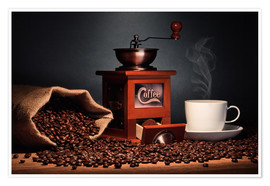 Premium poster  Coffee grinder with beans and coffee cup - pixelliebe