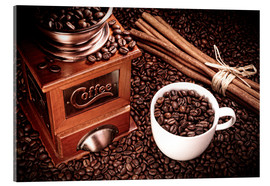 Acrylic print  Coffee beans with grinder, cinnamon and cup - pixelliebe