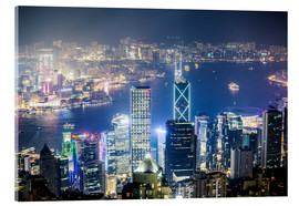 Acrylic print  Hong Kong city and harbour at night - Matteo Colombo