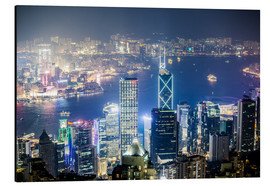 Aluminium print  Hong Kong city and harbour at night - Matteo Colombo
