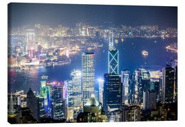 Canvas print  Hong Kong city and harbour at night - Matteo Colombo