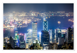 Premium poster  Hong Kong city and harbour at night - Matteo Colombo