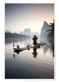 Premium poster Old Chinese fisherman