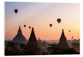 Acrylic glass  Balloons and temples, Bagan - Matteo Colombo
