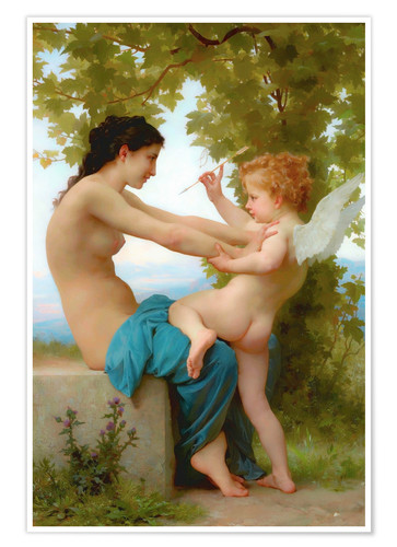 Premium poster A young girl defending herself against Eros