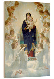 Wood print  The Virgin with angels - William Adolphe Bouguereau