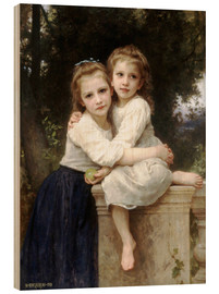 Wood print  Two sisters - William Adolphe Bouguereau