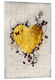 Acrylic glass  Golden Heart - Sybille Sterk