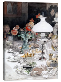 Canvas print  Around the lamp at evening - Carl Larsson