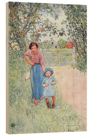 Wood print  Say hello to the nice uncle - Carl Larsson