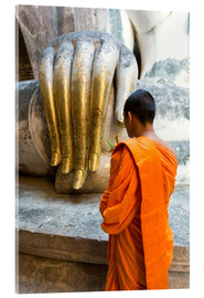 Acrylic print  Monk praying in front of Buddha Hand - Matteo Colombo